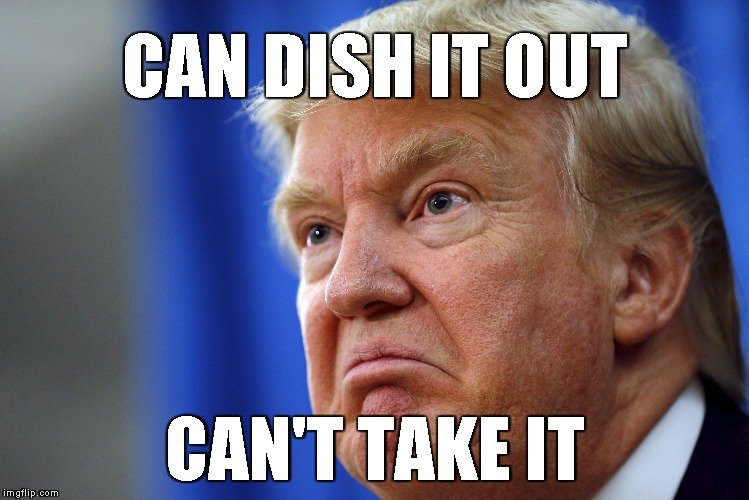 CAN DISH IT OUT CAN'T TAKE IT | image tagged in trump | made w/ Imgflip meme maker