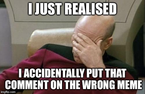 Captain Picard Facepalm Meme | I JUST REALISED I ACCIDENTALLY PUT THAT COMMENT ON THE WRONG MEME | image tagged in memes,captain picard facepalm | made w/ Imgflip meme maker
