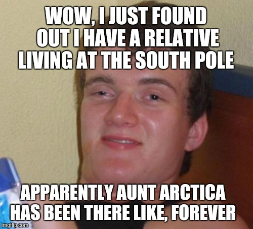Arctic humor  | WOW, I JUST FOUND OUT I HAVE A RELATIVE LIVING AT THE SOUTH POLE APPARENTLY AUNT ARCTICA HAS BEEN THERE LIKE, FOREVER | image tagged in memes,10 guy,antarctica,jbmemegeek,bad puns,south pole | made w/ Imgflip meme maker