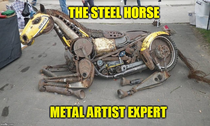 cool | THE STEEL HORSE METAL ARTIST EXPERT | image tagged in steel,horse,artists | made w/ Imgflip meme maker