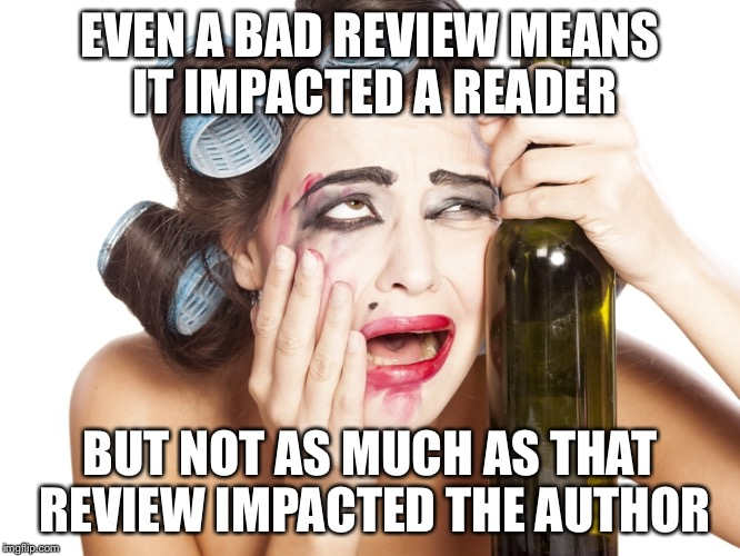 Bad reviews make authors cry | EVEN A BAD REVIEW MEANS IT IMPACTED A READER BUT NOT AS MUCH AS THAT REVIEW IMPACTED THE AUTHOR | image tagged in bad reviews,indie author,mean reviews | made w/ Imgflip meme maker