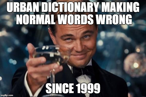 Leonardo Dicaprio Cheers Meme | URBAN DICTIONARY MAKING NORMAL WORDS WRONG SINCE 1999 | image tagged in memes,leonardo dicaprio cheers | made w/ Imgflip meme maker