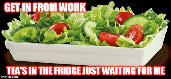 GET IN FROM WORK TEA'S IN THE FRIDGE JUST WAITING FOR ME | image tagged in salad because no great story started with alcohol | made w/ Imgflip meme maker