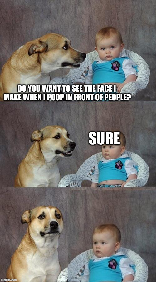Dad Joke Dog Meme | DO YOU WANT TO SEE THE FACE I MAKE WHEN I POOP IN FRONT OF PEOPLE? SURE | image tagged in memes,dad joke dog | made w/ Imgflip meme maker
