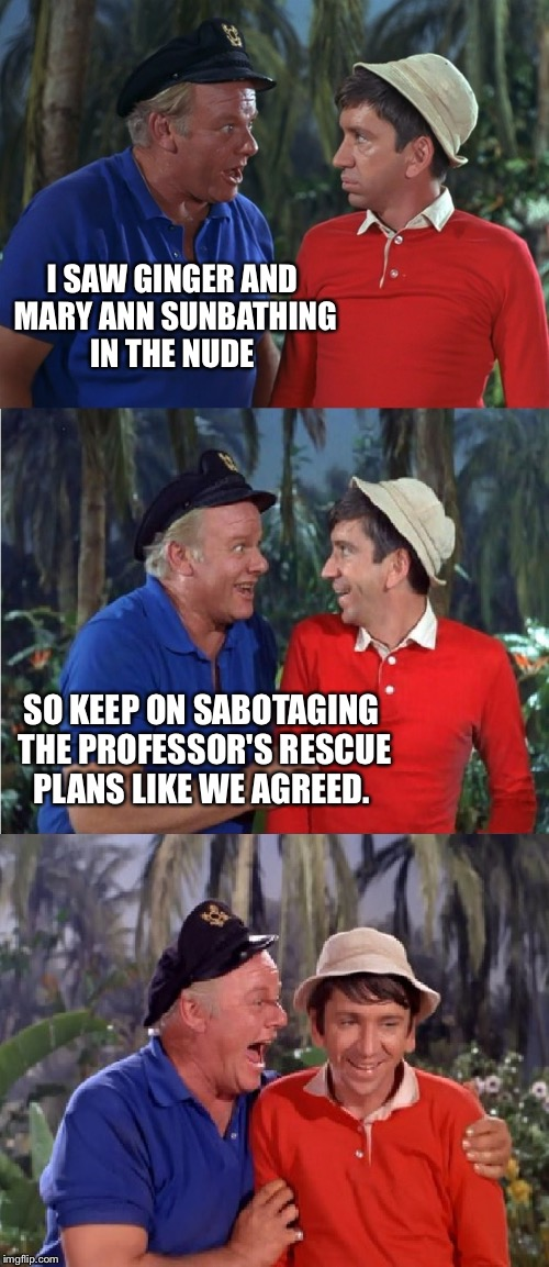 Gilligan's Island Week (From March 5th to 12th) A DrSarcasm Event  | I SAW GINGER AND MARY ANN SUNBATHING IN THE NUDE SO KEEP ON SABOTAGING THE PROFESSOR'S RESCUE PLANS LIKE WE AGREED. | image tagged in gilligan bad pun | made w/ Imgflip meme maker