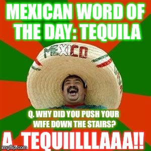 succesful mexican | MEXICAN WORD OF THE DAY: TEQUILA Q. WHY DID YOU PUSH YOUR WIFE DOWN THE STAIRS? A. TEQUIILLLAAA!! | image tagged in succesful mexican | made w/ Imgflip meme maker