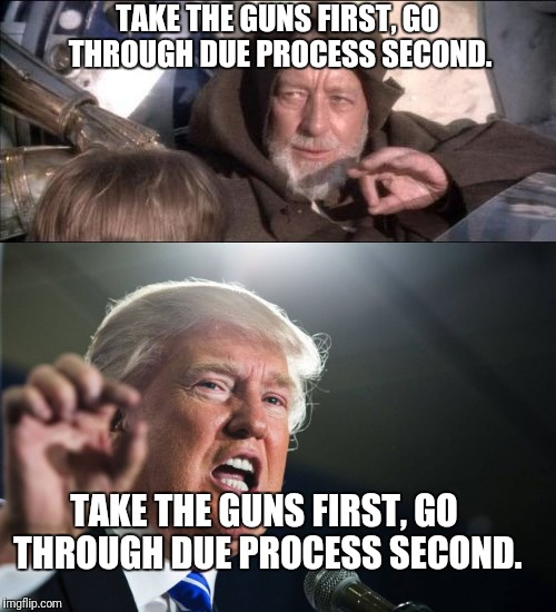 Old Jedi Mind Trick | TAKE THE GUNS FIRST, GO THROUGH DUE PROCESS SECOND. TAKE THE GUNS FIRST, GO THROUGH DUE PROCESS SECOND. | image tagged in donald trump,star wars,obi wan kenobi,obi wan kenobi jedi mind trick | made w/ Imgflip meme maker