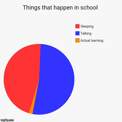 Things that happen in school | Actual learning, Talking, Sleeping | image tagged in funny,pie charts | made w/ Imgflip pie chart maker