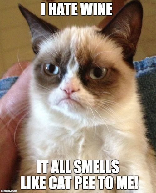 Grumpy Cat Meme | I HATE WINE IT ALL SMELLS LIKE CAT PEE TO ME! | image tagged in memes,grumpy cat | made w/ Imgflip meme maker