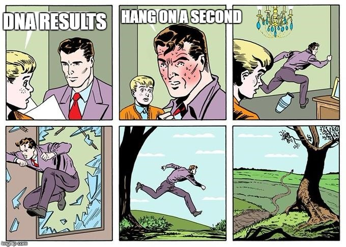 running dad | HANG ON A SECOND DNA RESULTS | image tagged in running dad | made w/ Imgflip meme maker