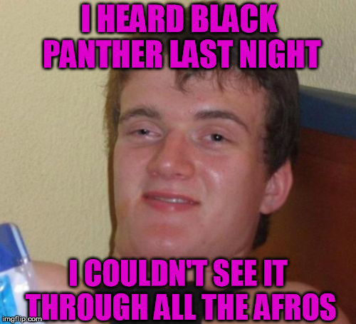 Black peo-anther jokes anyone? | I HEARD BLACK PANTHER LAST NIGHT I COULDN'T SEE IT THROUGH ALL THE AFROS | image tagged in memes,10 guy,funny,black panther | made w/ Imgflip meme maker