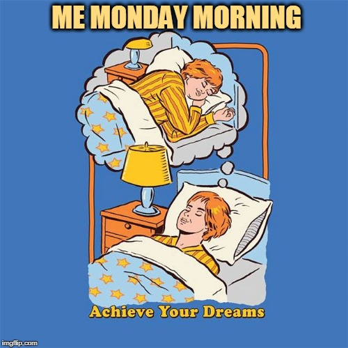 ME MONDAY MORNING | image tagged in monday mornings,mondays,sleep,sweet dreams | made w/ Imgflip meme maker