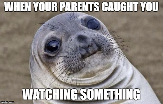 Awkward Seal | WHEN YOUR PARENTS CAUGHT YOU WATCHING SOMETHING | image tagged in awkward seal | made w/ Imgflip meme maker