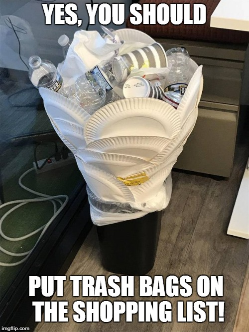 I hate roommates! | YES, YOU SHOULD PUT TRASH BAGS ON THE SHOPPING LIST! | image tagged in funny,first world problems | made w/ Imgflip meme maker