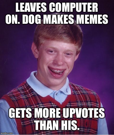 Bad Luck Brian Meme | LEAVES COMPUTER ON. DOG MAKES MEMES GETS MORE UPVOTES THAN HIS. | image tagged in memes,bad luck brian | made w/ Imgflip meme maker
