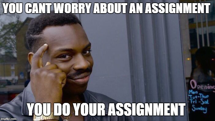 Roll Safe Think About It Meme | YOU CANT WORRY ABOUT AN ASSIGNMENT YOU DO YOUR ASSIGNMENT | image tagged in memes,roll safe think about it | made w/ Imgflip meme maker