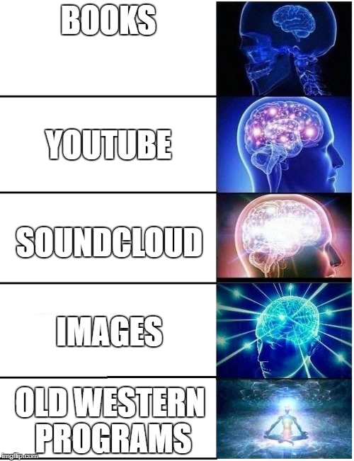 Expanding Brain 5 Panel | BOOKS OLD WESTERN PROGRAMS YOUTUBE SOUNDCLOUD IMAGES | image tagged in expanding brain 5 panel | made w/ Imgflip meme maker