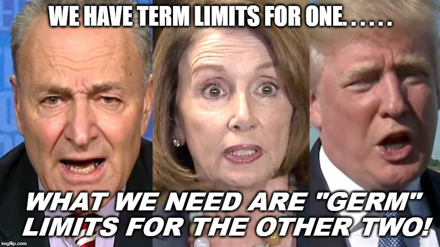 "We need GERM limits! | WE HAVE TERM LIMITS FOR ONE. . . . . . WHAT WE NEED ARE ""GERM"" LIMITS FOR THE OTHER TWO! 