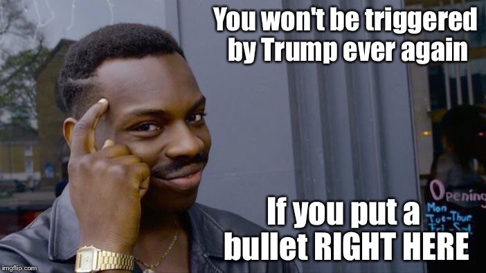 Roll Safe Think About It Meme | You won't be triggered by Trump ever again If you put a bullet RIGHT HERE | image tagged in memes,roll safe think about it | made w/ Imgflip meme maker