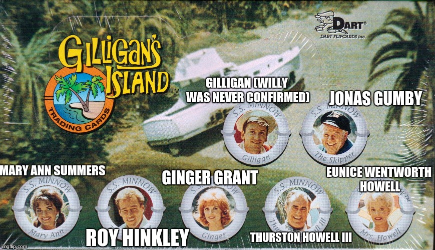 know the characters (full names, or as best we know).  Celebrating Gilligan's Island Week.  | GILLIGAN (WILLY WAS NEVER CONFIRMED) JONAS GUMBY MARY ANN SUMMERS ROY HINKLEY GINGER GRANT THURSTON HOWELL III EUNICE WENTWORTH HOWELL | image tagged in gilligan's island,names,memes | made w/ Imgflip meme maker