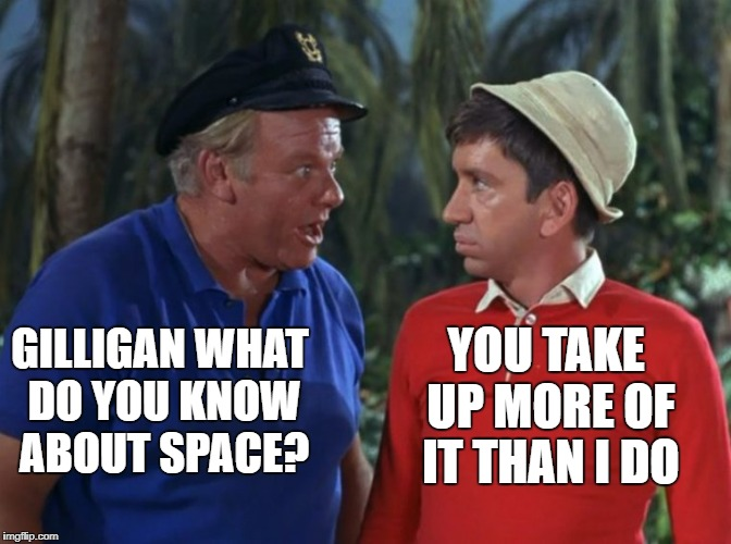 A DrSarcasm Event Gilligan's island week march 5th-12th.  | GILLIGAN WHAT DO YOU KNOW ABOUT SPACE? YOU TAKE UP MORE OF IT THAN I DO | image tagged in gilligan's island | made w/ Imgflip meme maker