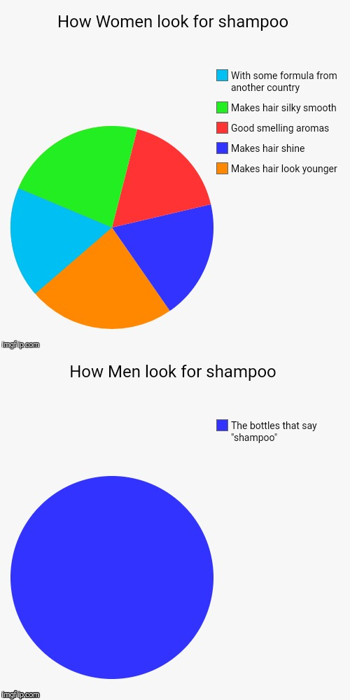 Men vs Women looking for shampoo | image tagged in pie charts | made w/ Imgflip meme maker