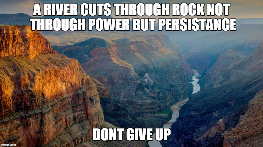 Persistance | A RIVER CUTS THROUGH ROCK NOT THROUGH POWER BUT PERSISTANCE DONT GIVE UP | image tagged in memes | made w/ Imgflip meme maker
