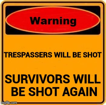 Talk about gun control | TRESPASSERS WILL BE SHOT SURVIVORS WILL BE SHOT AGAIN | image tagged in memes,warning sign,gun violence,videogames | made w/ Imgflip meme maker