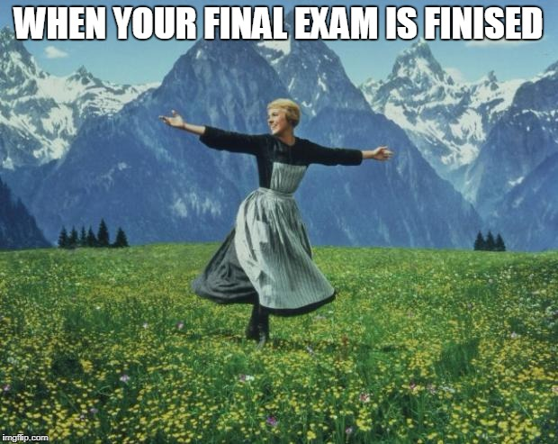 seeing people during final exam - sound of music | WHEN YOUR FINAL EXAM IS FINISED | image tagged in seeing people during final exam - sound of music | made w/ Imgflip meme maker