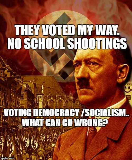 The Dictator | THEY VOTED MY WAY. NO SCHOOL SHOOTINGS VOTING DEMOCRACY /SOCIALISM.. WHAT CAN GO WRONG? | image tagged in the dictator | made w/ Imgflip meme maker