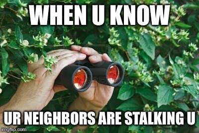 Creepy Guy in the bushes with Binoculars  | WHEN U KNOW UR NEIGHBORS ARE STALKING U | image tagged in creepy guy in the bushes with binoculars | made w/ Imgflip meme maker