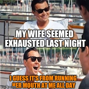 What a workout | MY WIFE SEEMED EXHAUSTED LAST NIGHT I GUESS IT'S FROM RUNNING HER MOUTH AT ME ALL DAY | image tagged in leo wolf laughing,exhausted,humor,funny memes,memes | made w/ Imgflip meme maker