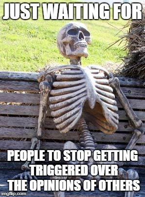 Waiting Skeleton | JUST WAITING FOR PEOPLE TO STOP GETTING TRIGGERED OVER THE OPINIONS OF OTHERS | image tagged in memes,waiting skeleton,opinion,doctordoomsday180,triggered,opinions | made w/ Imgflip meme maker