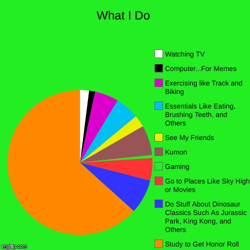 What I Do | What I Do | Study to Get Honor Roll, Do Stuff About Dinosaur Classics Such As Jurassic Park, King Kong, and Others, Go to Places Like Sky Hi | image tagged in funny,pie charts,dinosaurs,jurassic park,life,success kid | made w/ Imgflip pie chart maker
