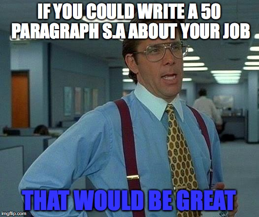 That Would Be Great Meme | IF YOU COULD WRITE A 50 PARAGRAPH S.A ABOUT YOUR JOB THAT WOULD BE GREAT | image tagged in memes,that would be great | made w/ Imgflip meme maker