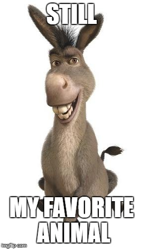 Donkey is the greatest | STILL MY FAVORITE ANIMAL | image tagged in donkey from shrek | made w/ Imgflip meme maker