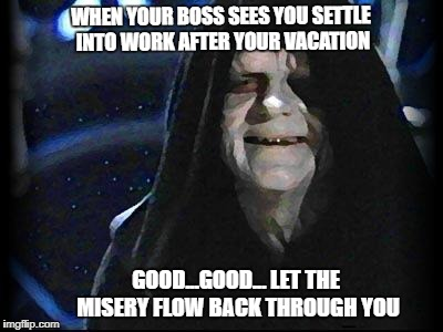 Emperor Palpatine |  WHEN YOUR BOSS SEES YOU SETTLE INTO WORK AFTER YOUR VACATION; GOOD...GOOD... LET THE MISERY FLOW BACK THROUGH YOU | image tagged in emperor palpatine | made w/ Imgflip meme maker