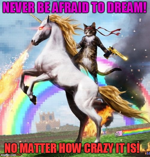 Welcome To The Internets Meme | NEVER BE AFRAID TO DREAM! NO MATTER HOW CRAZY IT IS! | image tagged in memes,welcome to the internets | made w/ Imgflip meme maker