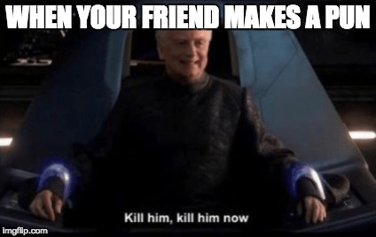 Kill him, kill him now |  WHEN YOUR FRIEND MAKES A PUN | image tagged in star wars,palpatine,revenge of the sith | made w/ Imgflip meme maker