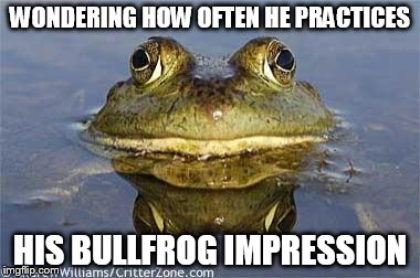 WONDERING HOW OFTEN HE PRACTICES HIS BULLFROG IMPRESSION | made w/ Imgflip meme maker