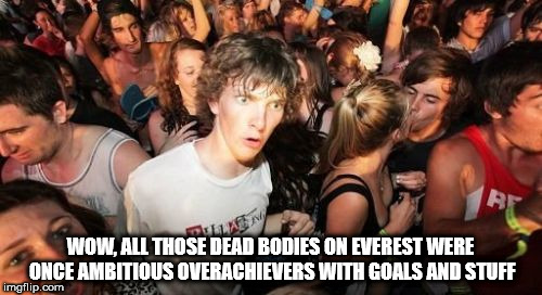Sudden Clarity Clarence Meme | WOW, ALL THOSE DEAD BODIES ON EVEREST WERE ONCE AMBITIOUS OVERACHIEVERS WITH GOALS AND STUFF | image tagged in memes,sudden clarity clarence | made w/ Imgflip meme maker