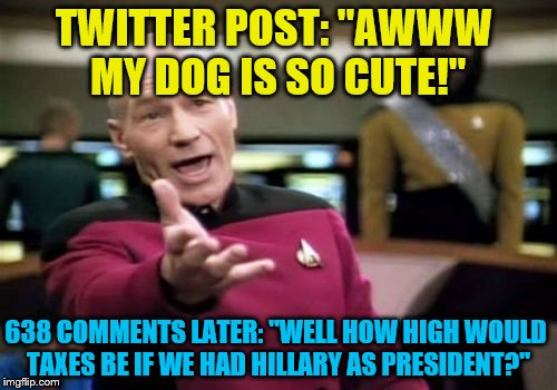 "Picard Wtf Meme | TWITTER POST: ""AWWW MY DOG IS SO CUTE!"" 638 COMMENTS LATER: ""WELL HOW HIGH WOULD TAXES BE IF WE HAD HILLARY AS PRESIDENT?"" 