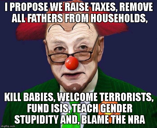 What A Joker This Clown Is |  I PROPOSE WE RAISE TAXES, REMOVE ALL FATHERS FROM HOUSEHOLDS, KILL BABIES, WELCOME TERRORISTS, FUND ISIS, TEACH GENDER STUPIDITY AND, BLAME THE NRA | image tagged in chuck schumer,liberal vs conservative,democrats,stupid,stupid people,stupid liberals | made w/ Imgflip meme maker