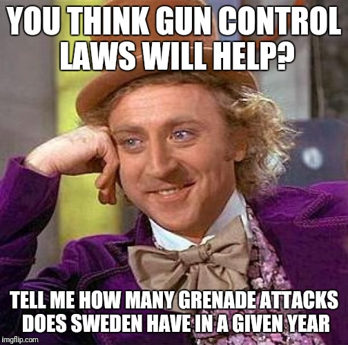 Creepy Condescending Wonka Meme | YOU THINK GUN CONTROL LAWS WILL HELP? TELL ME HOW MANY GRENADE ATTACKS DOES SWEDEN HAVE IN A GIVEN YEAR | image tagged in memes,creepy condescending wonka | made w/ Imgflip meme maker