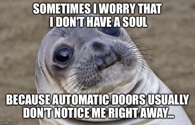 No soul | SOMETIMES I WORRY THAT I DON'T HAVE A SOUL BECAUSE AUTOMATIC DOORS USUALLY DON'T NOTICE ME RIGHT AWAY... | image tagged in memes,awkward moment sealion | made w/ Imgflip meme maker