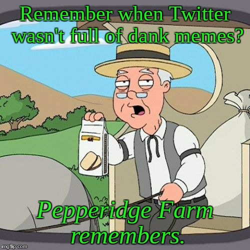 Pepperidge Farm Remembers Meme | Remember when Twitter wasn't full of dank memes? Pepperidge Farm remembers. | image tagged in memes,pepperidge farm remembers | made w/ Imgflip meme maker