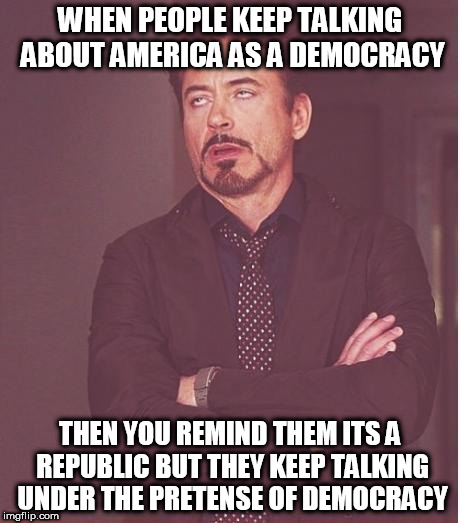 Face You Make Robert Downey Jr Meme | WHEN PEOPLE KEEP TALKING ABOUT AMERICA AS A DEMOCRACY THEN YOU REMIND THEM ITS A REPUBLIC BUT THEY KEEP TALKING UNDER THE PRETENSE OF DEMOCR | image tagged in memes,face you make robert downey jr | made w/ Imgflip meme maker