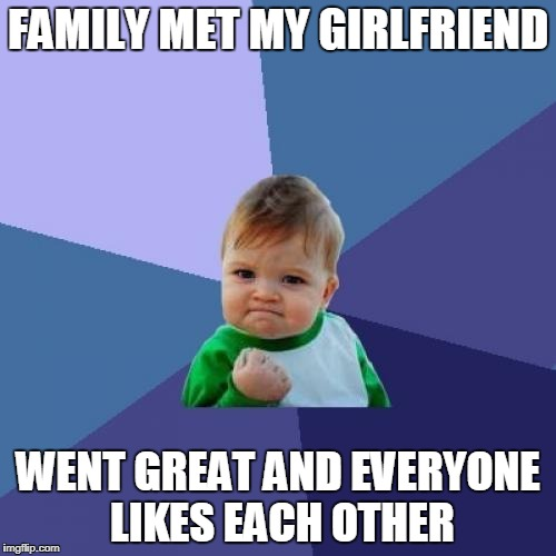 Not a surprise but welcome nonetheless | FAMILY MET MY GIRLFRIEND WENT GREAT AND EVERYONE LIKES EACH OTHER | image tagged in memes,success kid,good girlfriend | made w/ Imgflip meme maker