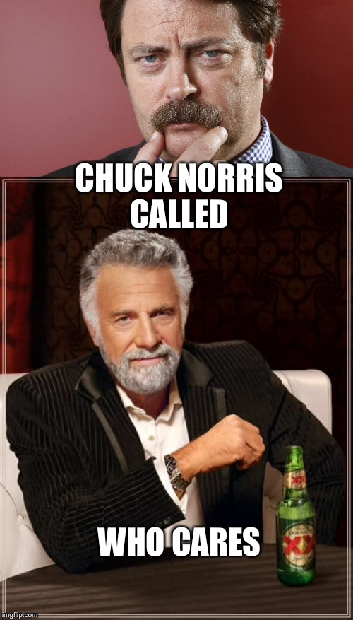 Testosterone overload | CHUCK NORRIS CALLED WHO CARES | image tagged in ron swanson,memes,the most interesting man in the world,chuck norris | made w/ Imgflip meme maker