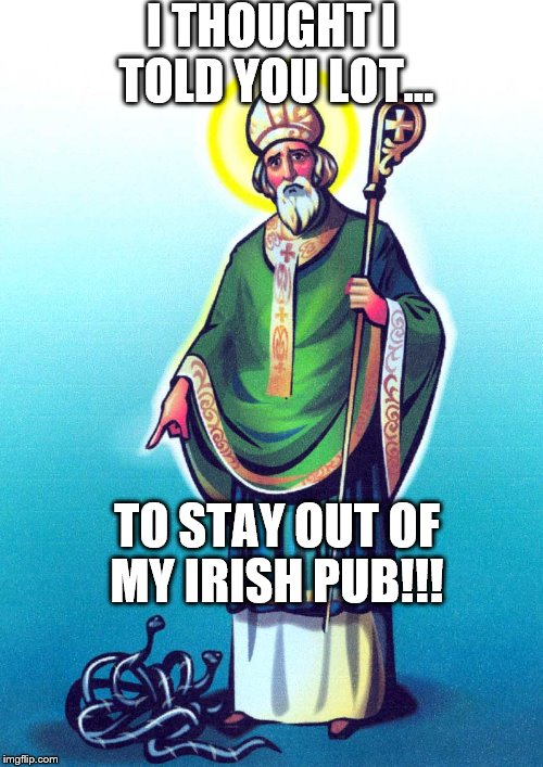I THOUGHT I TOLD YOU LOT... TO STAY OUT OF MY IRISH PUB!!! | image tagged in st patrick  snakes | made w/ Imgflip meme maker